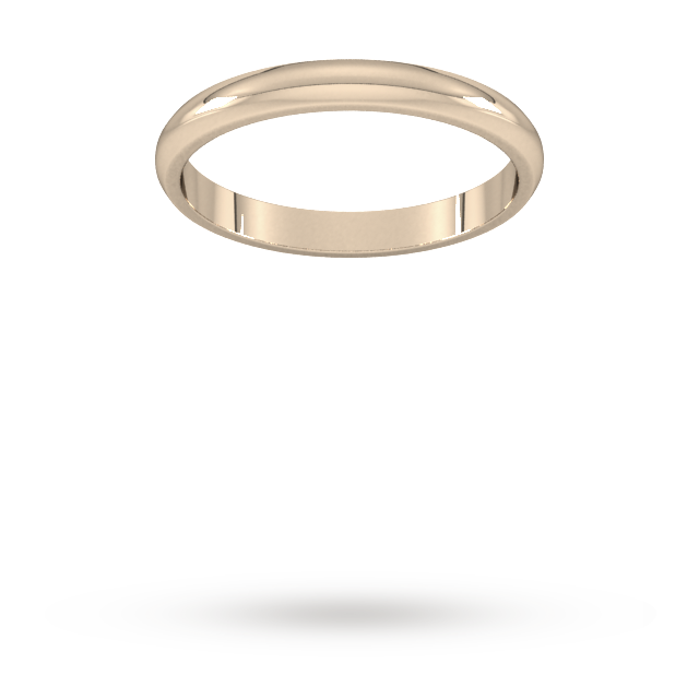 9ct 2.5mm Rose Gold Traditional D shape Wedding Band.