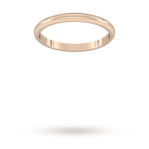 9ct 2mm Rose Gold Traditional D shape Wedding Band.
