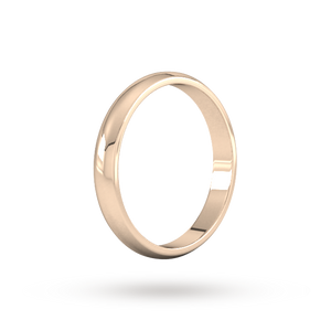 9ct 3mm Traditional D shape Rose Gold Wedding Band. Handmade in Wales.