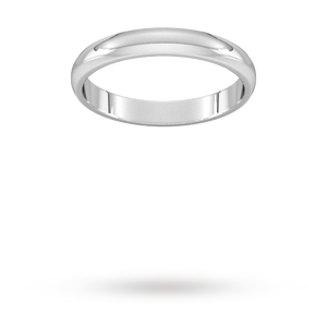 9ct 3mm White Gold Traditional D shape Wedding Band. Handmade in Wales.