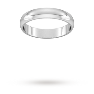 9ct 4mm White Gold Traditional D shape Wedding Band.