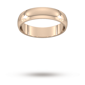 9ct 5mm Rose Gold Traditional D shape Wedding Band.