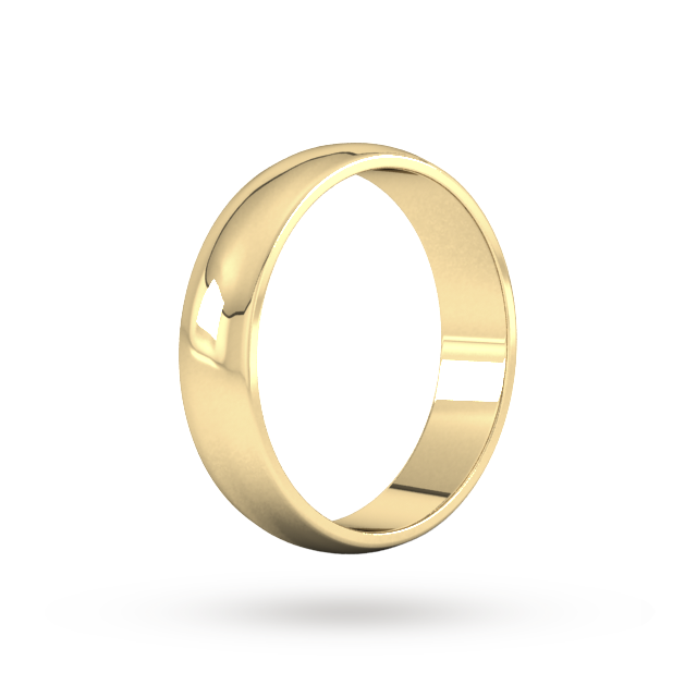 9ct 5mm Yellow Gold Traditional D shape Wedding Band.