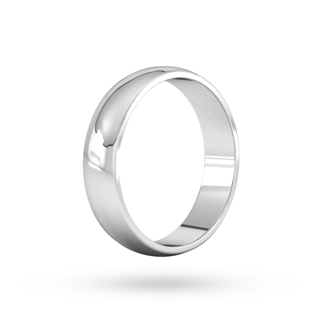 Platinum 5mm Traditional D shape Wedding Band.