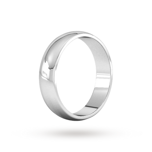 9ct 5mm White Gold Traditional D shape Wedding Band.