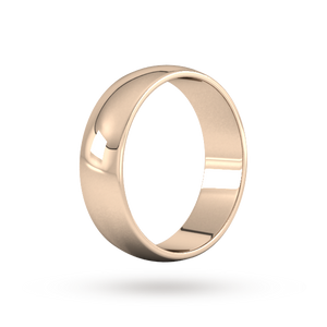 9ct 6mm Rose Gold Traditional D shape Wedding Band.