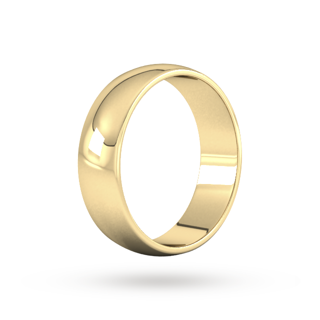 9ct 6mm Yellow Gold Traditional D shape Wedding Band.