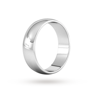 9ct 6mm White Gold Traditional D shape Wedding Band.