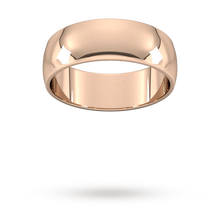 Load image into Gallery viewer, 9ct 7mm Rose Gold Traditional D shape Wedding Band.