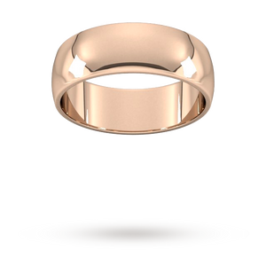 9ct 7mm Rose Gold Traditional D shape Wedding Band.