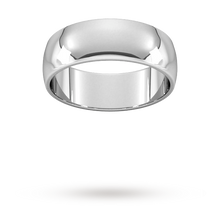 Load image into Gallery viewer, 9ct 7mm White Gold Traditional D shape Wedding Band.