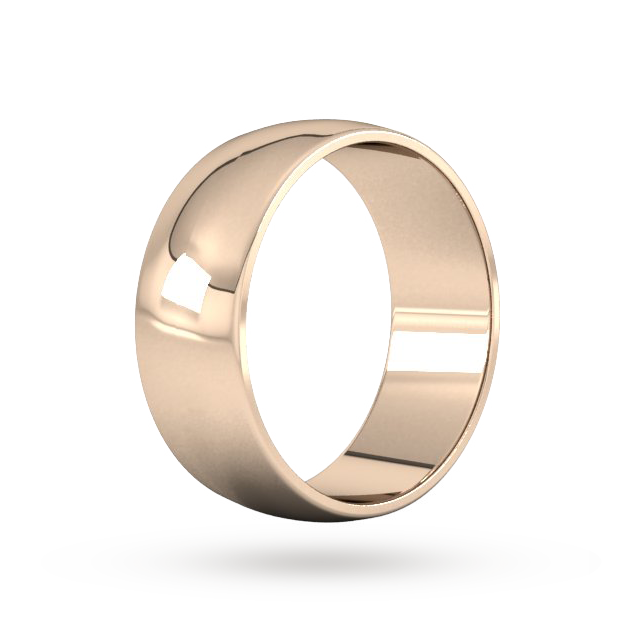 9ct 8mm Rose Gold Traditional D shape Wedding Band.