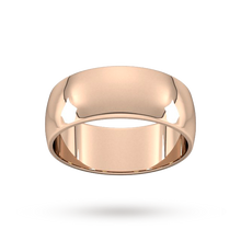 Load image into Gallery viewer, 9ct 8mm Rose Gold Traditional D shape Wedding Band.