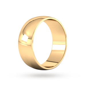 9ct 8mm Yellow Gold Traditional D shape Wedding Band.