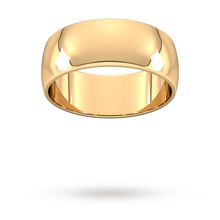 Load image into Gallery viewer, 9ct 8mm Yellow Gold Traditional D shape Wedding Band.