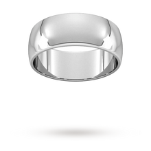 Load image into Gallery viewer, 9ct 8mm White Gold Traditional D shape Wedding Band.
