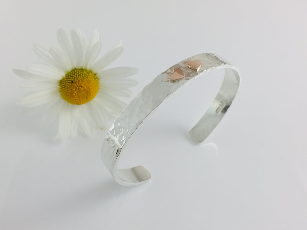 Silver & 9ct Rose Gold Double Heart Cuff Bangle.