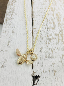 9ct Gold Honey Bee & Diamond set Flower Necklace.  Handmade by Jeffs Jewellers