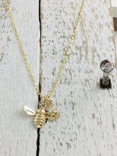 Load image into Gallery viewer, 9ct Gold Honey Bee & Diamond set Flower Necklace.  Handmade by Jeffs Jewellers