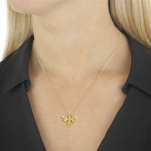 9ct yellow gold designer bee necklace.
