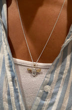 Load image into Gallery viewer, Diamond set Honey Bee Necklace, Handmade in Argentium Silver & 9ct Gold by Jeffs Jewellers