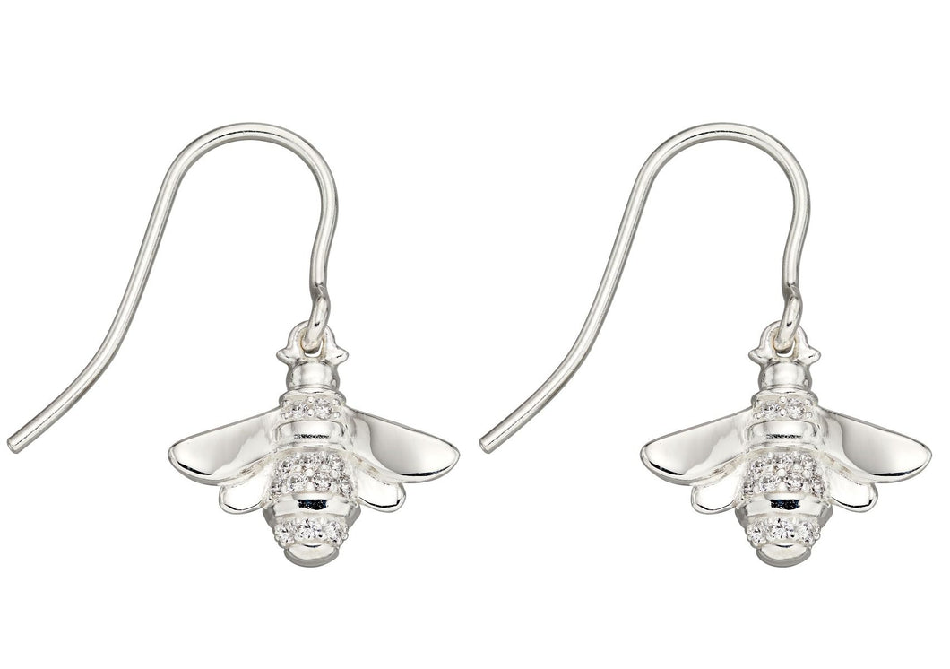 Silver Stone Set Bee Drop Earrings