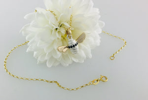 Black Zirconia set Honey Bee Necklace, Handmade in Argentium Silver & 9ct Gold by Jeffs Jewellers