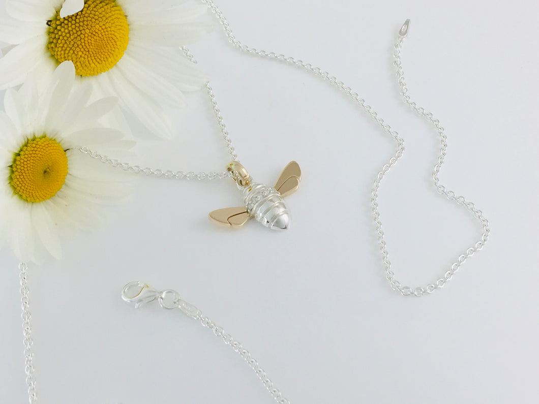 Diamond set Honey Bee Necklace, Handmade in Argentium Silver & 9ct Gold by Jeffs Jewellers