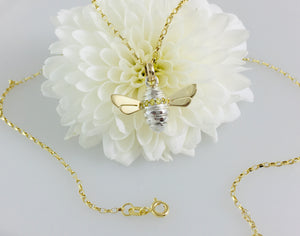 Yellow cz set Honey Bee Necklace, Handmade in Argentium Silver & 9ct Gold by Jeffs Jewellers