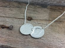 Load image into Gallery viewer, Double coin necklace, pre 1920 sixpence, celebrity sterling silver necklace.
