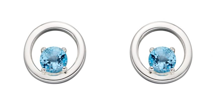 Silver Blue Topaz Earrings. December Birthstone