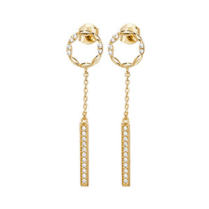9ct CZ Dropper Earrings.