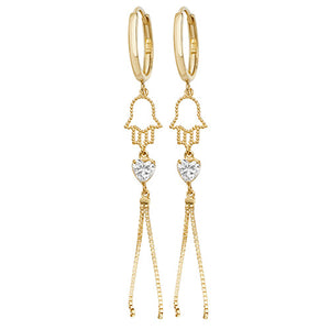 9ct Hamsa Hand CZ Dropper Earrings.