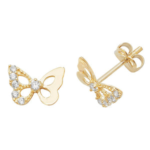 9ct Stone Set Butterfly Studs.