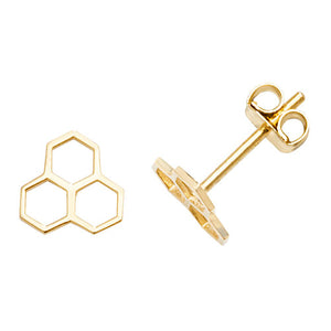 9ct Honeycomb Stud Earrings.