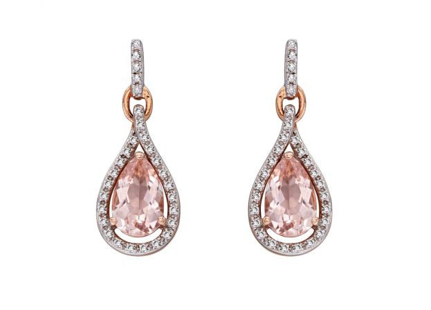 9ct Rose Gold Morganite & Diamond Earrings. Dream collection.