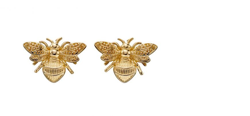 9ct Yellow Gold Bee Stud Earrings.
