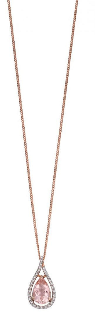 9ct Rose Gold Morganite & Diamond Necklace. Dream collection.