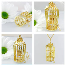 Load image into Gallery viewer, 9ct Gold Birdcage necklace with owl statement piece.