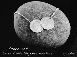 Double coin necklace, pre 1920 sixpence, celebrity sterling silver necklace.
