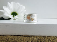 Load image into Gallery viewer, Handmade Heart worry ring, Spinner fidget ring, 9ct solid gold & sterling Silver Spinner stacker, rose gold valentines day