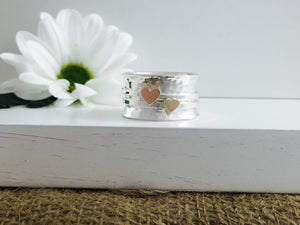 Handmade Heart worry ring, Spinner fidget ring, 9ct solid gold & sterling Silver Spinner stacker, rose gold valentines day
