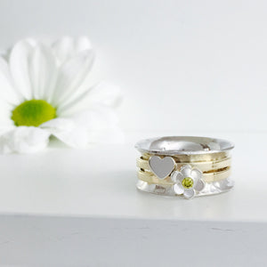 The Love Daisy Spinner Ring, handmade worry ring 9ct solid gold & sterling Silver