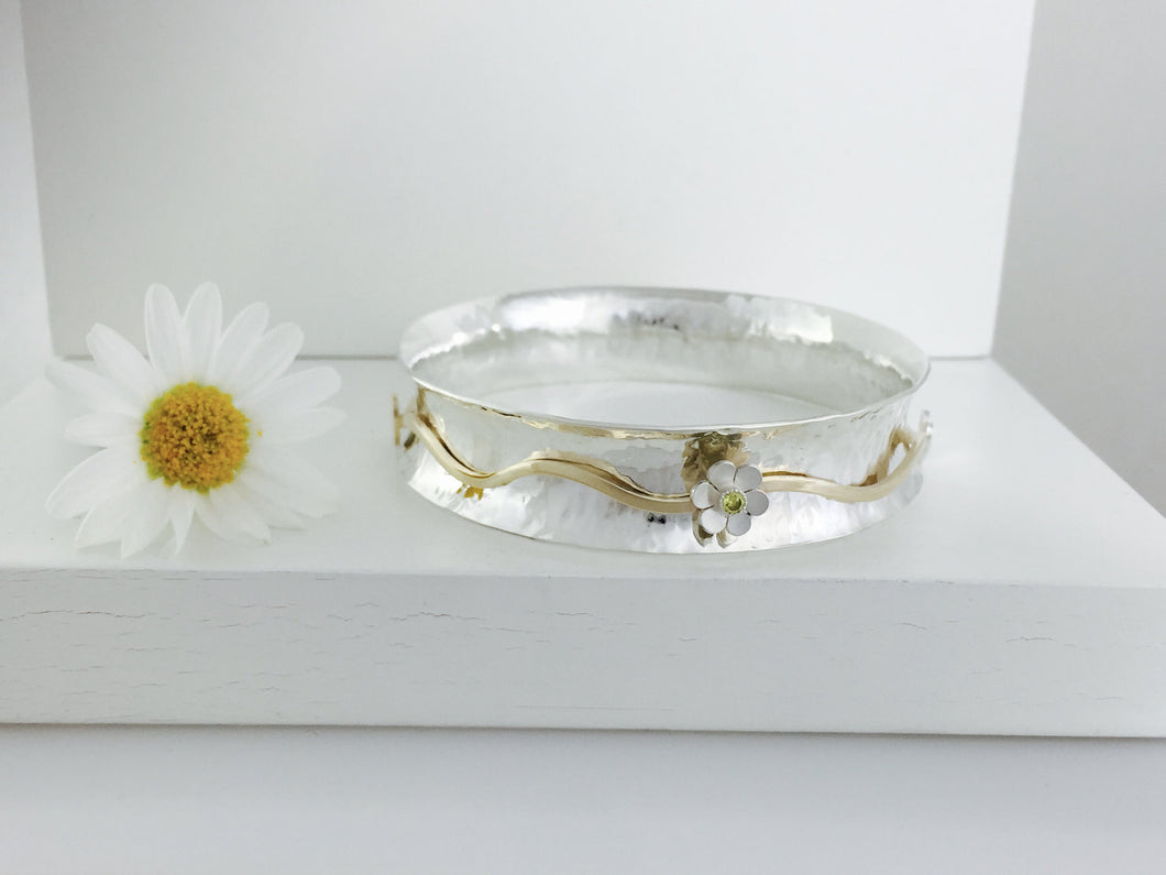 9ct & Silver Spinner bangle, handmade worry spinning bangle.