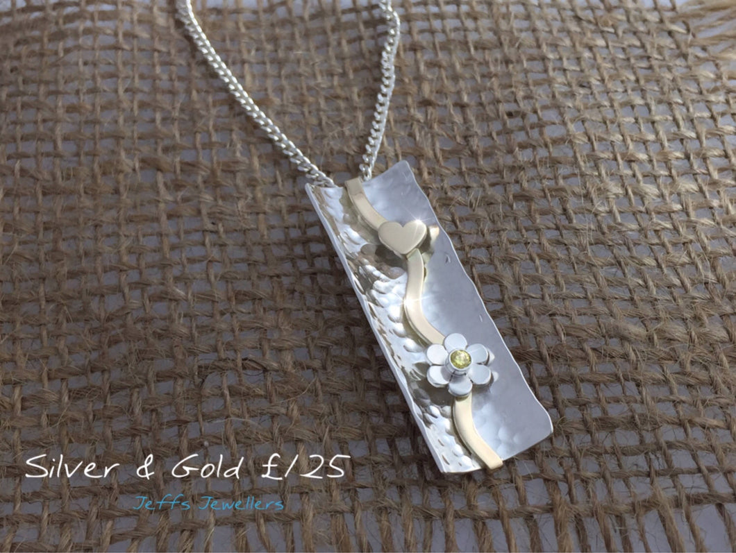 Unique Handmade Concave Silver and 9ct Gold Pendant with Stone Set Flower and Heart