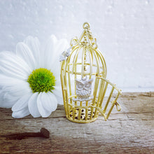 Load image into Gallery viewer, 9ct Yellow and White Gold Diamond Set Gold Birdcage with Owl Necklace.
