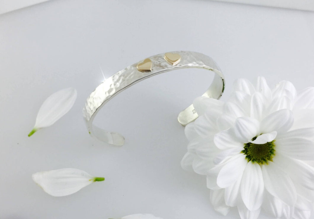 Silver & 9ct Yellow Gold Double Heart Cuff Bangle.