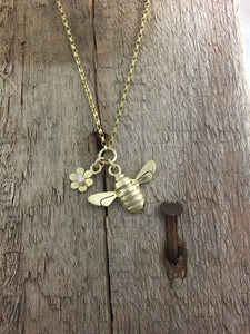 9ct Gold Honey Bee and Fixed Diamond set flower necklace by Jeffs Jewellers