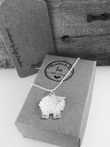 Handmade silver sheep brooch, individually hand crafted at Jeffs Jewellers.
