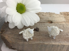 Load image into Gallery viewer, Handmade silver sheep cufflinks, individually crafted in Wales at Jeffs Jewellers.